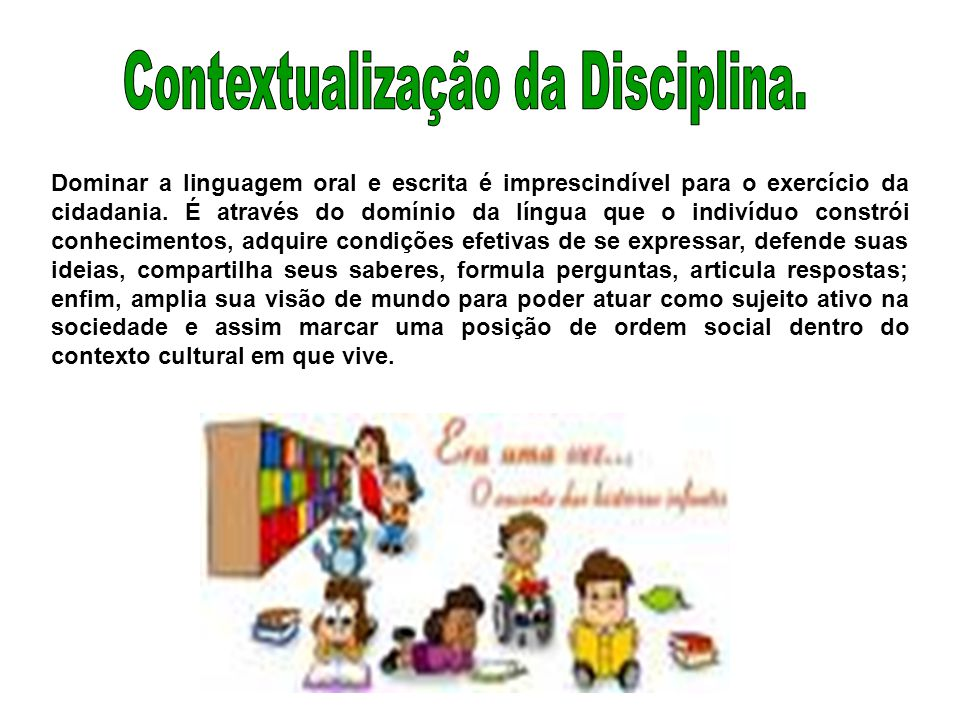 Contextualização da Disciplina.