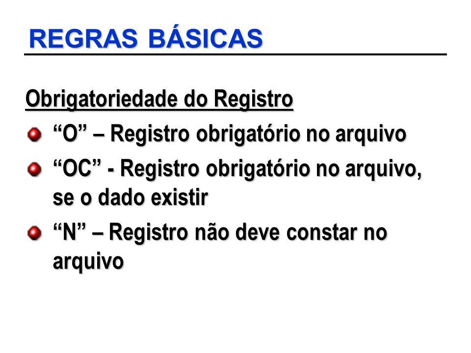 REGRAS BÁSICAS Obrigatoriedade do Registro