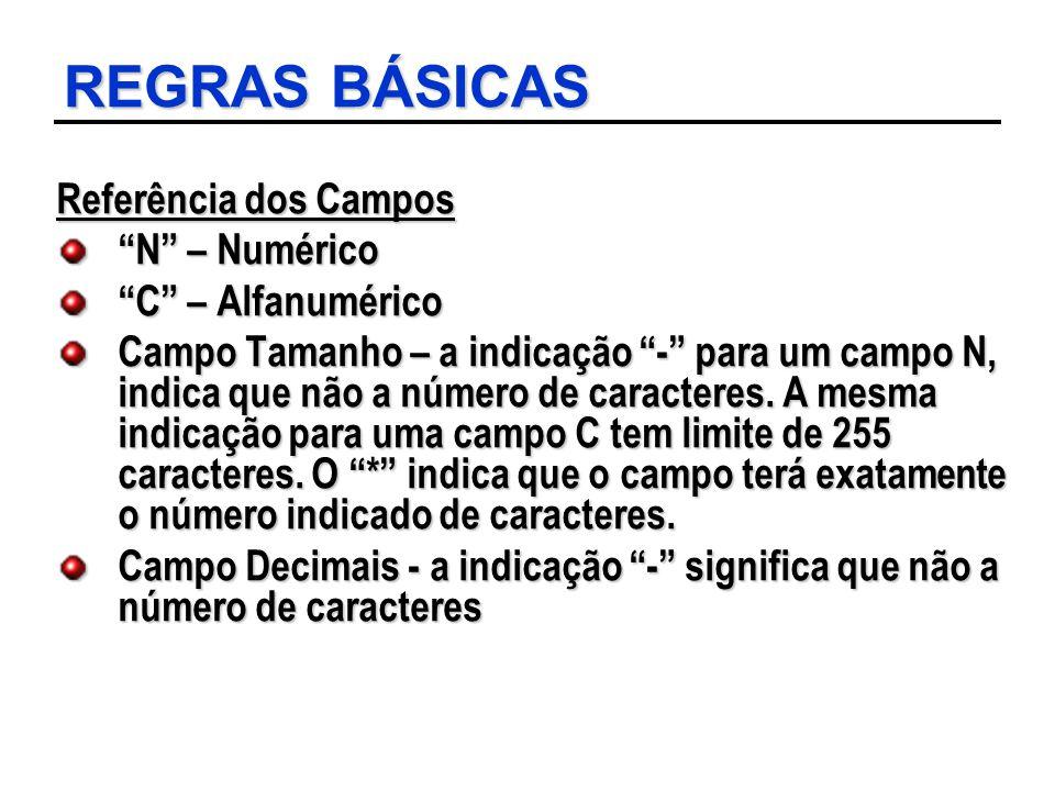 REGRAS BÁSICAS Referência dos Campos N – Numérico C – Alfanumérico