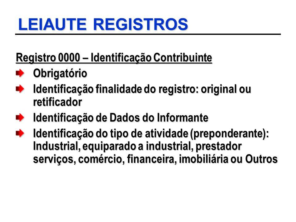 LEIAUTE REGISTROS Registro 0000 – Identificação Contribuinte