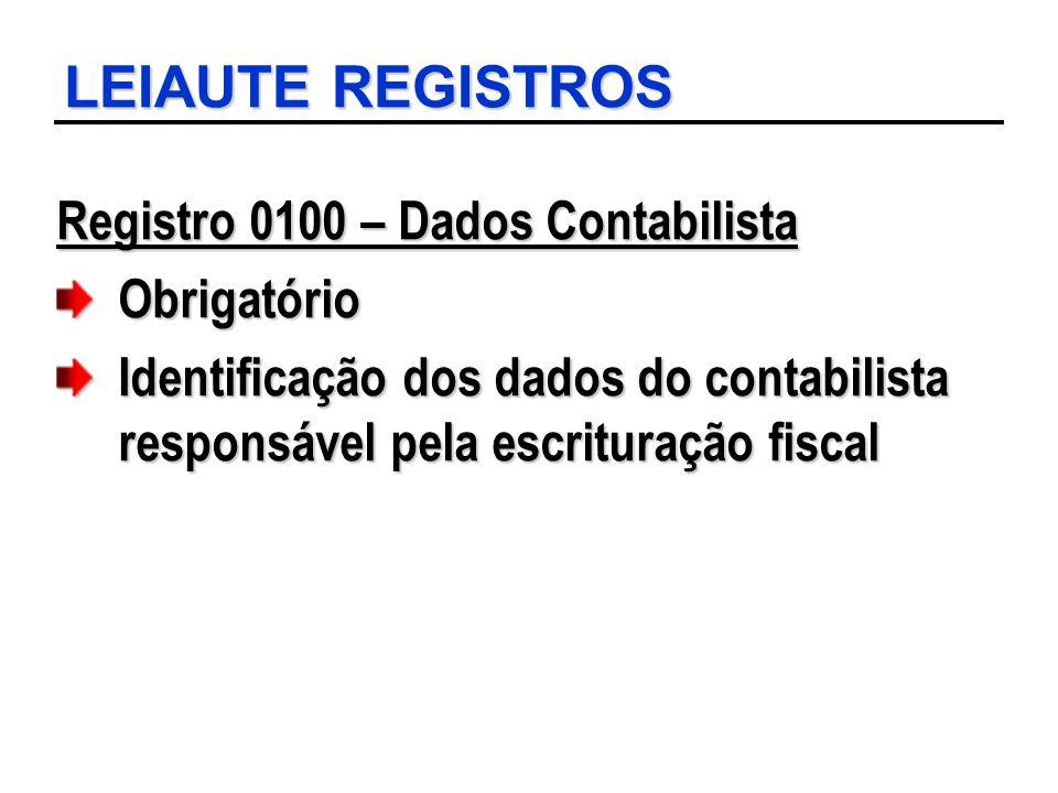 LEIAUTE REGISTROS Registro 0100 – Dados Contabilista Obrigatório