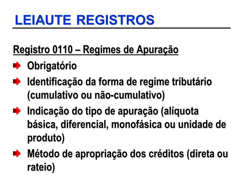 LEIAUTE REGISTROS Registro 0110 – Regimes de Apuração Obrigatório
