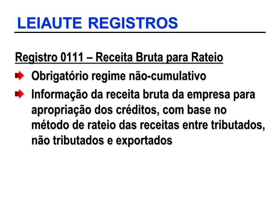 LEIAUTE REGISTROS Registro 0111 – Receita Bruta para Rateio