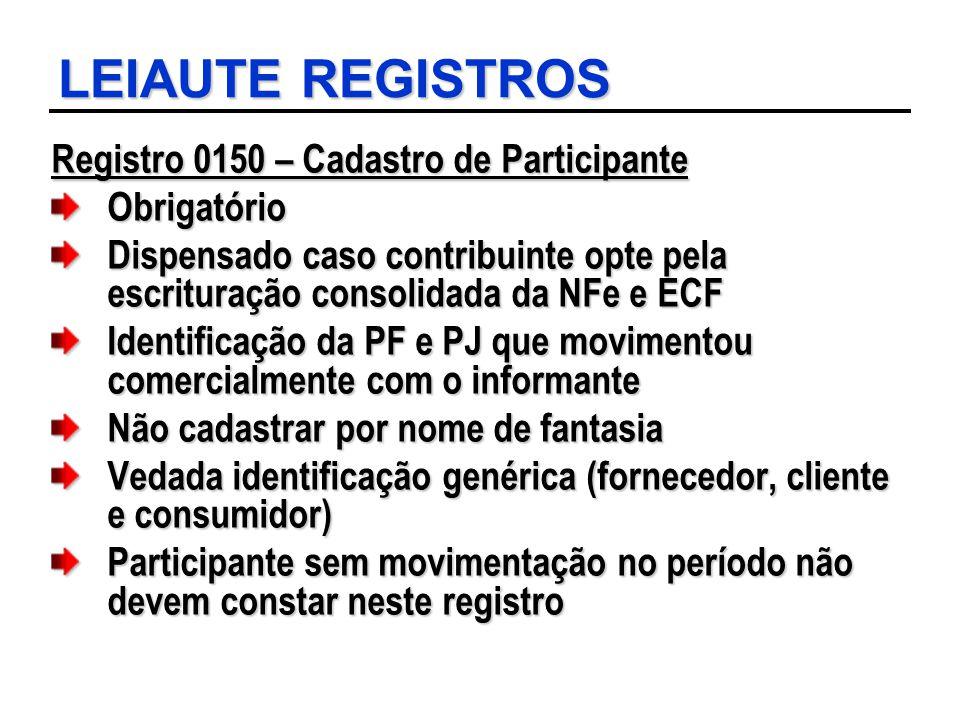 LEIAUTE REGISTROS Registro 0150 – Cadastro de Participante Obrigatório