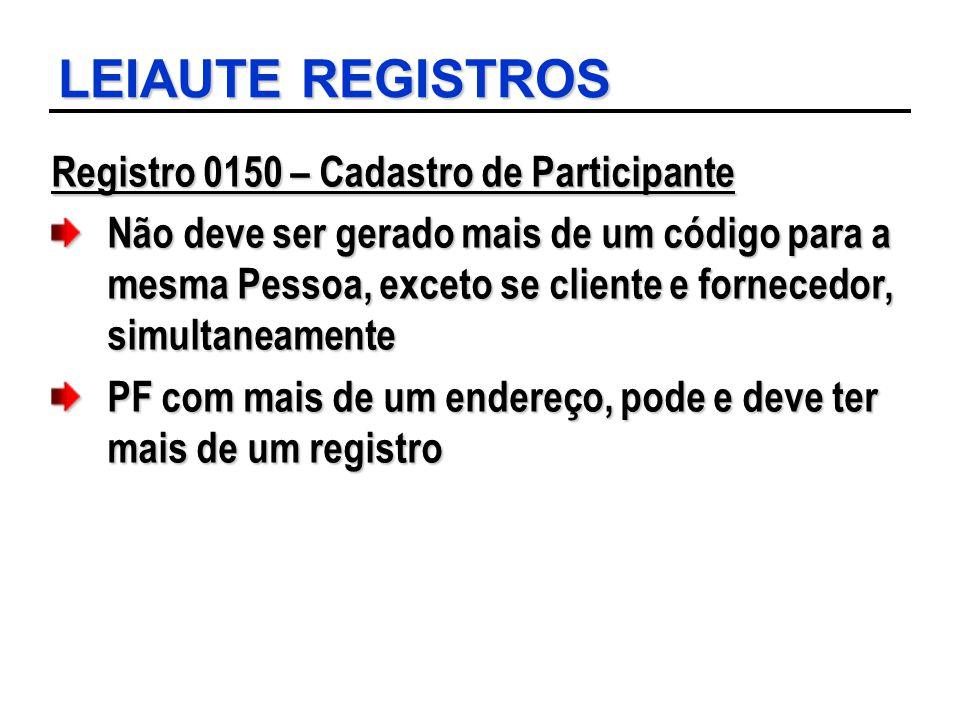 LEIAUTE REGISTROS Registro 0150 – Cadastro de Participante