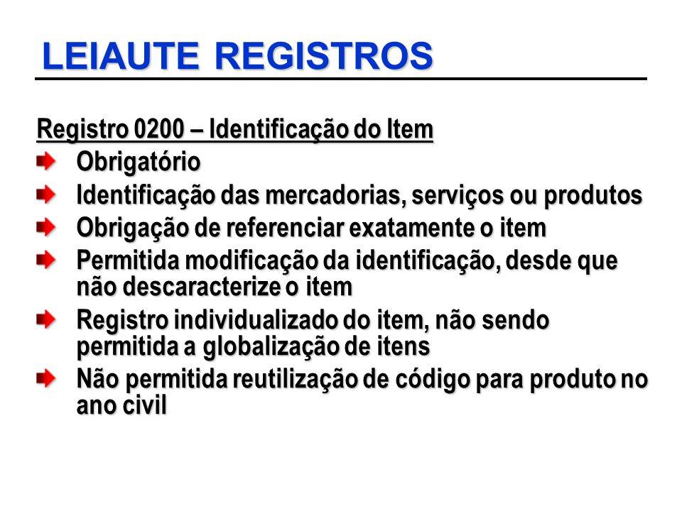 LEIAUTE REGISTROS Registro 0200 – Identificação do Item Obrigatório