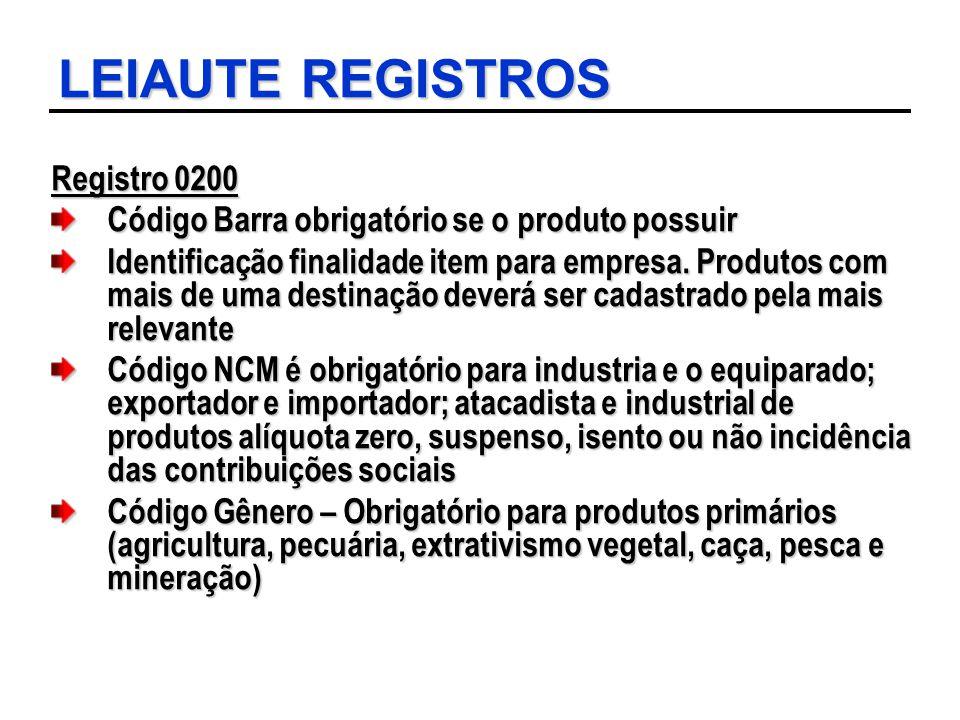 LEIAUTE REGISTROS Registro 0200