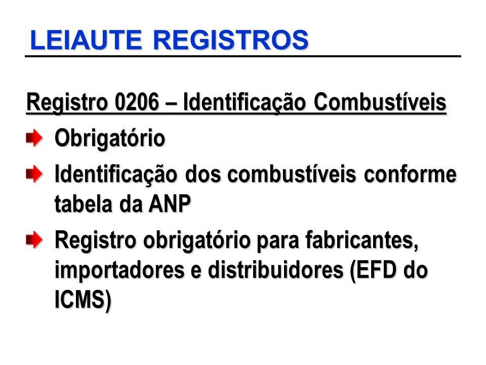 LEIAUTE REGISTROS Registro 0206 – Identificação Combustíveis