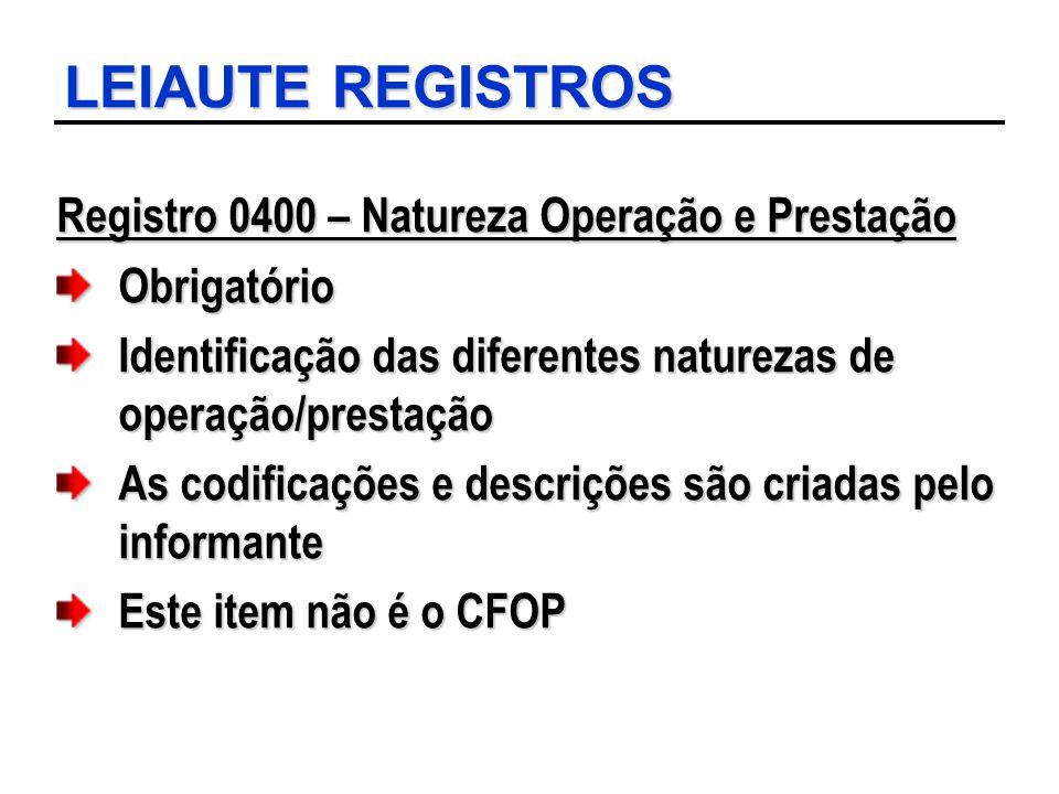 LEIAUTE REGISTROS Registro 0400 – Natureza Operação e Prestação