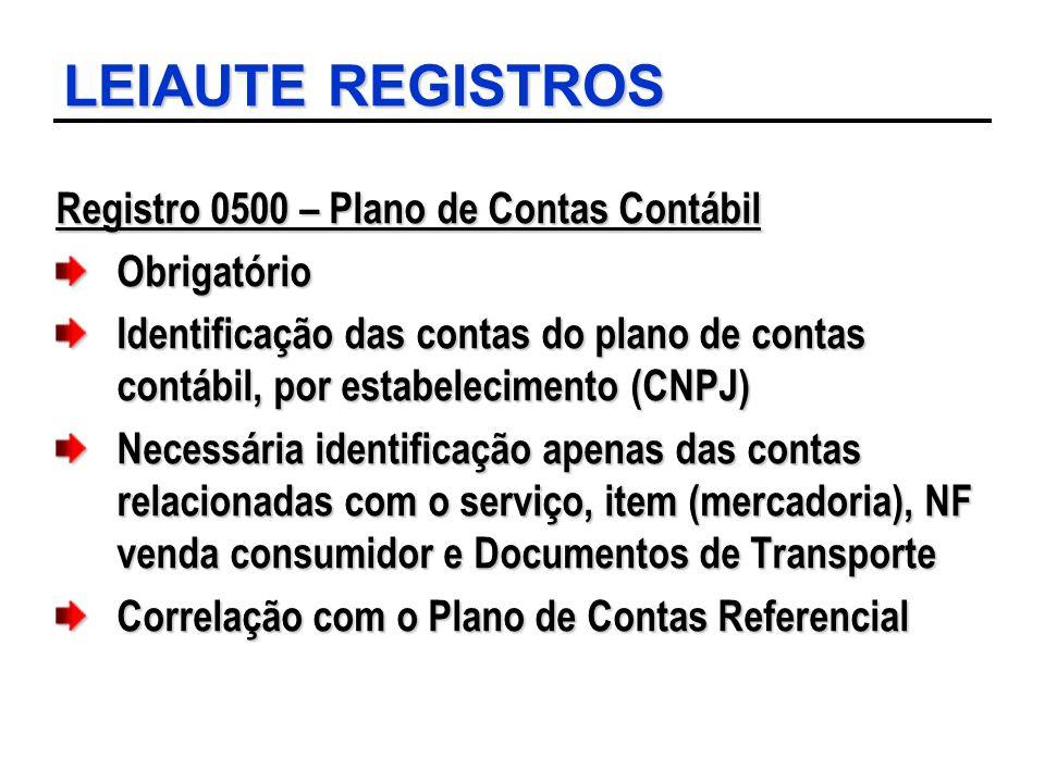 LEIAUTE REGISTROS Registro 0500 – Plano de Contas Contábil Obrigatório
