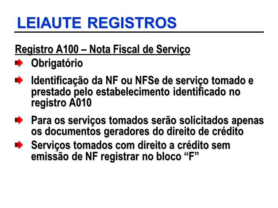 LEIAUTE REGISTROS Registro A100 – Nota Fiscal de Serviço Obrigatório