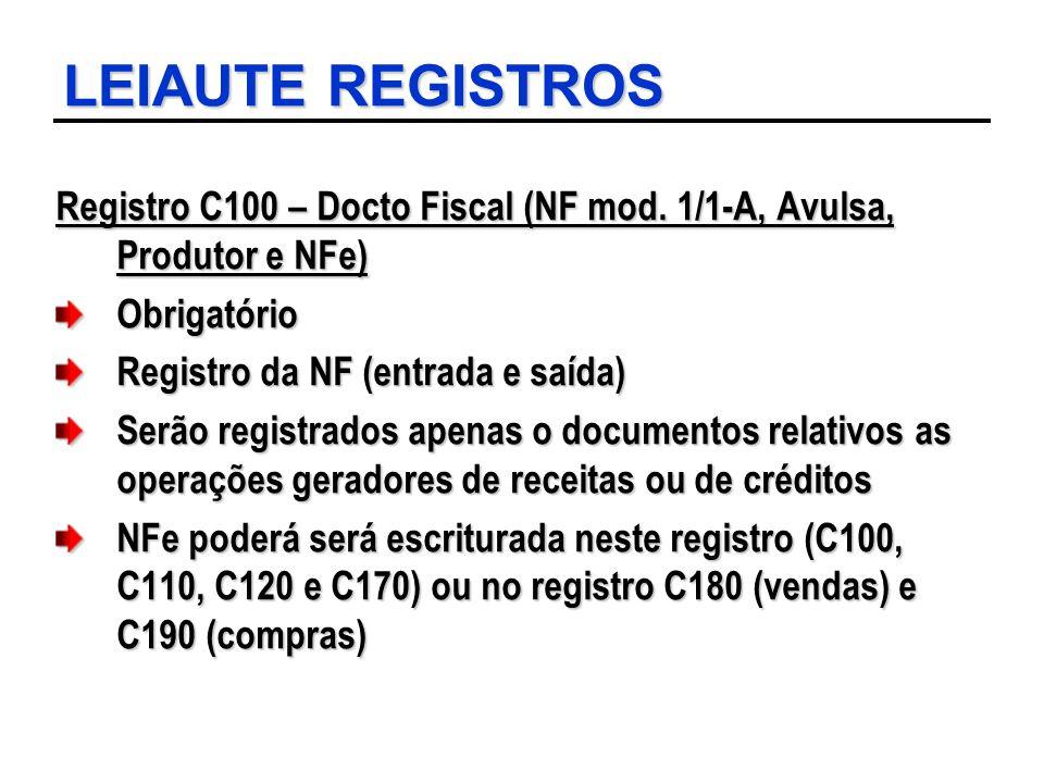 LEIAUTE REGISTROS Registro C100 – Docto Fiscal (NF mod. 1/1-A, Avulsa, Produtor e NFe) Obrigatório.