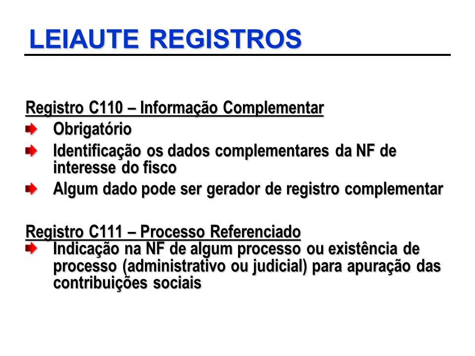 LEIAUTE REGISTROS Registro C110 – Informação Complementar Obrigatório