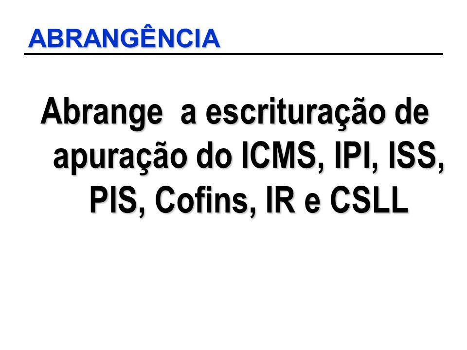 ABRANGÊNCIA Abrange a escrituração de apuração do ICMS, IPI, ISS, PIS, Cofins, IR e CSLL