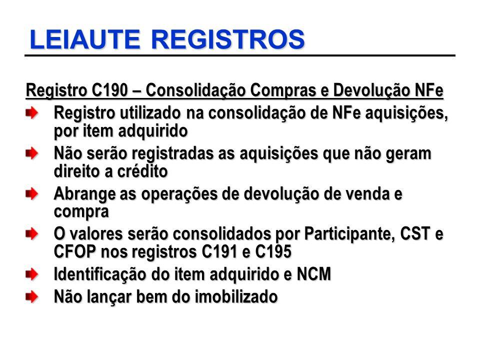 LEIAUTE REGISTROS Registro C190 – Consolidação Compras e Devolução NFe