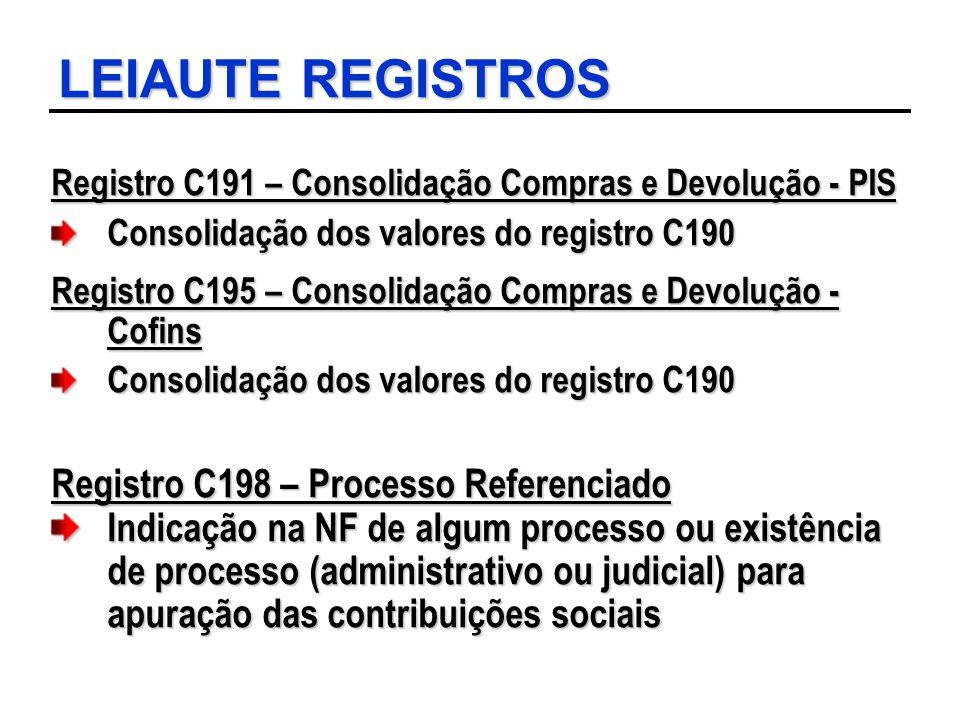 LEIAUTE REGISTROS Registro C198 – Processo Referenciado