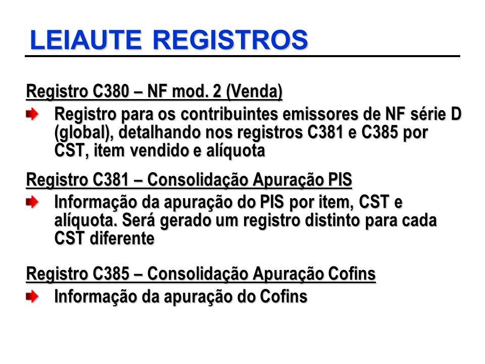 LEIAUTE REGISTROS Registro C380 – NF mod. 2 (Venda)