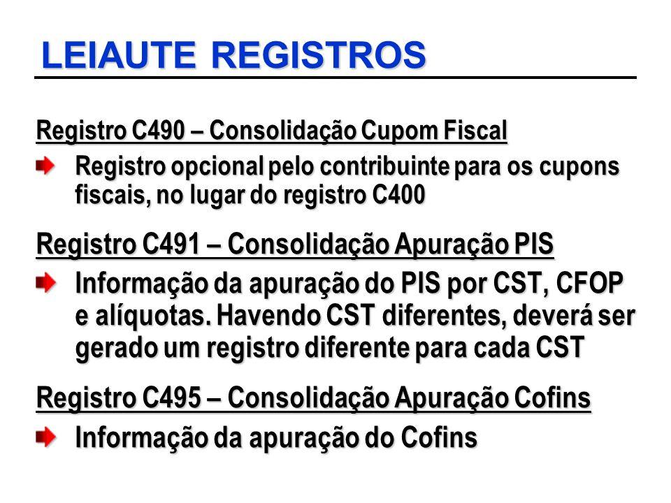 LEIAUTE REGISTROS Registro C491 – Consolidação Apuração PIS