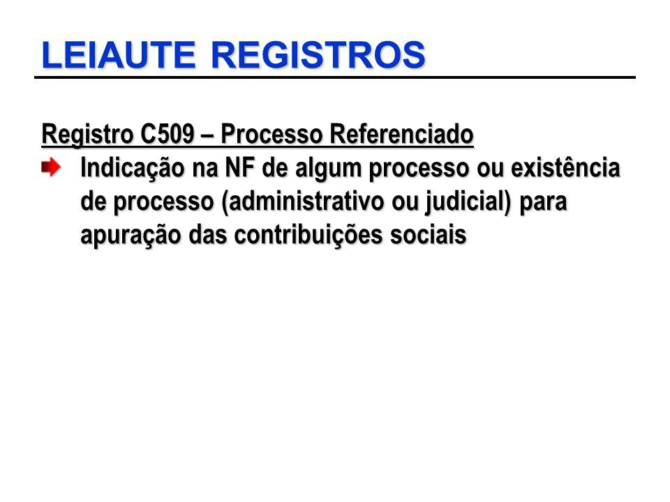 LEIAUTE REGISTROS Registro C509 – Processo Referenciado