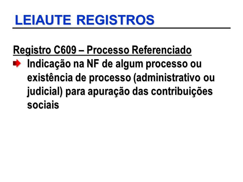 LEIAUTE REGISTROS Registro C609 – Processo Referenciado