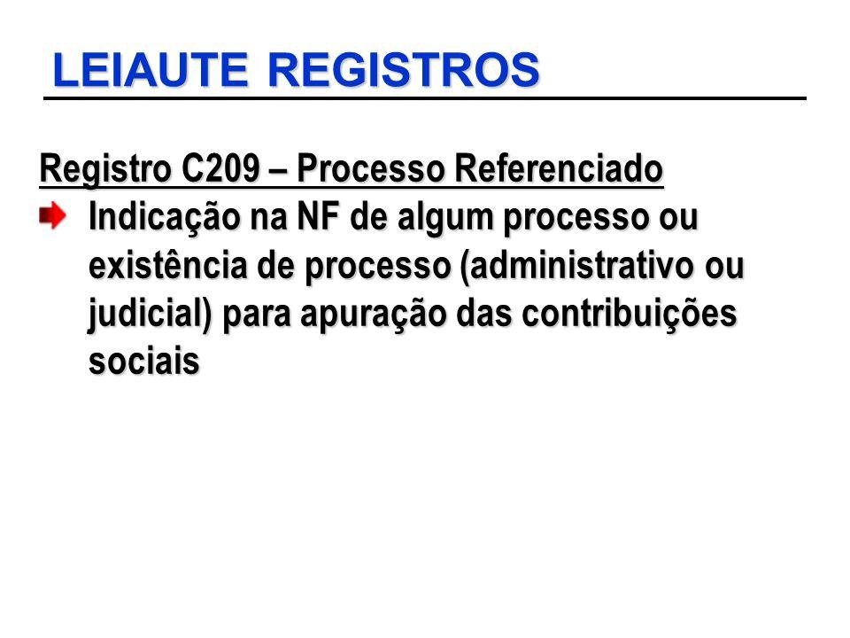 LEIAUTE REGISTROS Registro C209 – Processo Referenciado