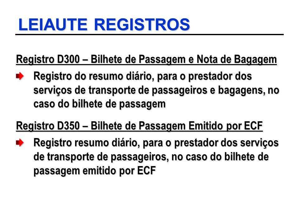 LEIAUTE REGISTROS Registro D300 – Bilhete de Passagem e Nota de Bagagem.