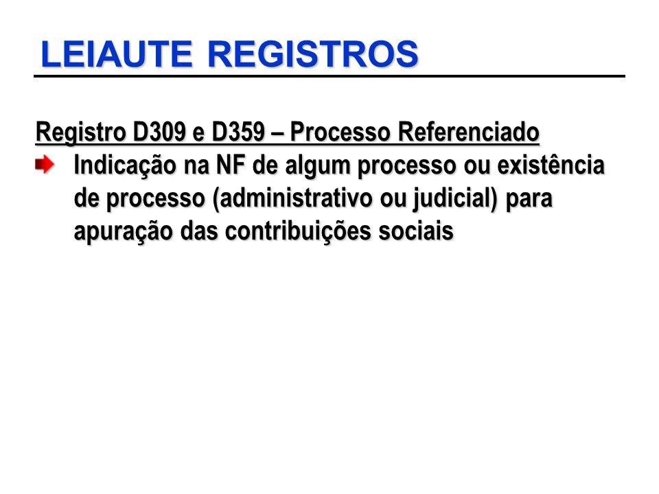 LEIAUTE REGISTROS Registro D309 e D359 – Processo Referenciado