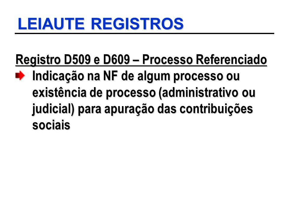 LEIAUTE REGISTROS Registro D509 e D609 – Processo Referenciado