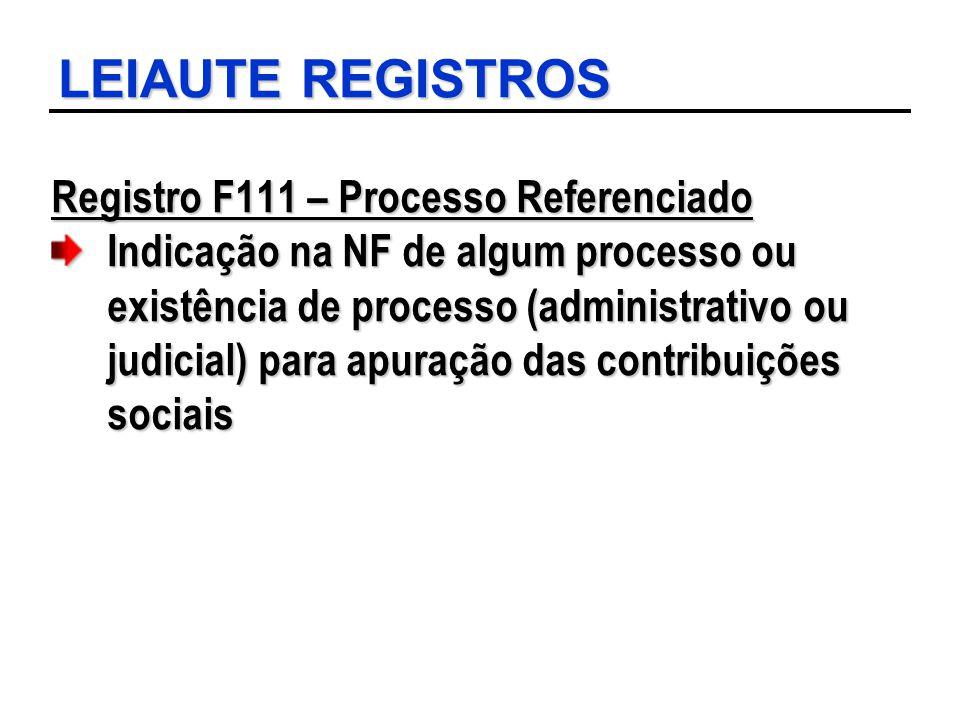LEIAUTE REGISTROS Registro F111 – Processo Referenciado