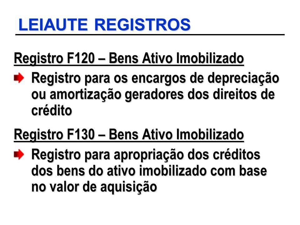 LEIAUTE REGISTROS Registro F120 – Bens Ativo Imobilizado