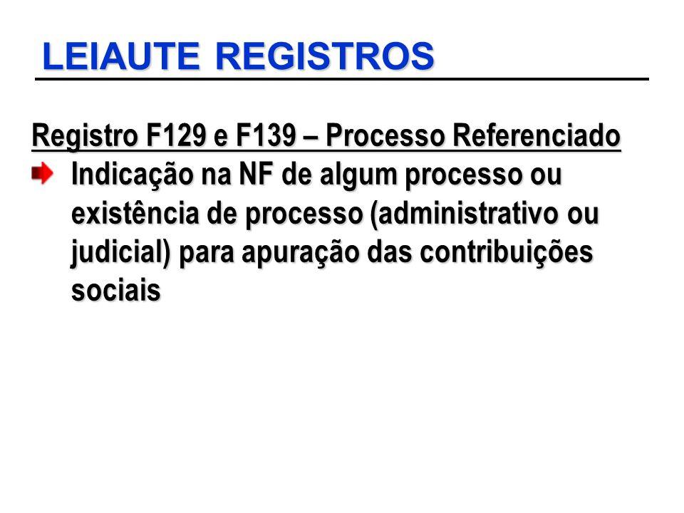 LEIAUTE REGISTROS Registro F129 e F139 – Processo Referenciado