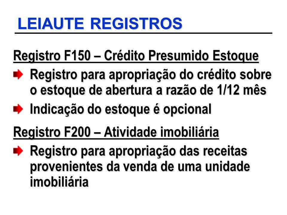 LEIAUTE REGISTROS Registro F150 – Crédito Presumido Estoque