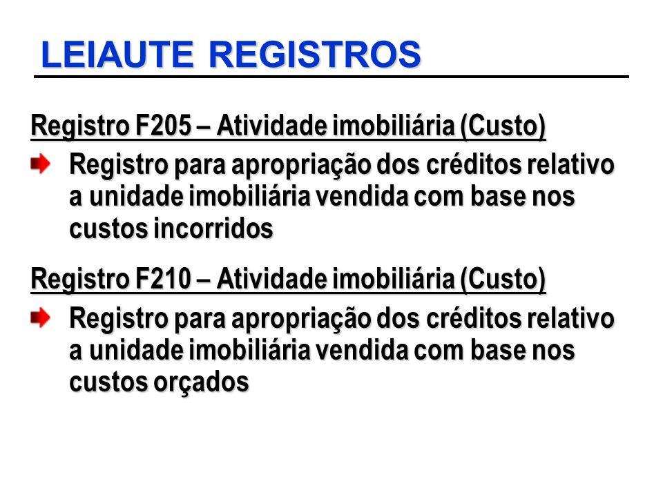 LEIAUTE REGISTROS Registro F205 – Atividade imobiliária (Custo)