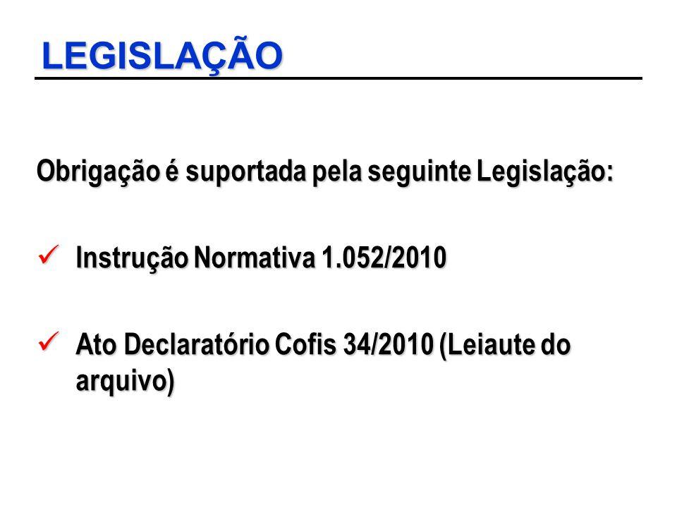 LEGISLAÇÃO Obrigação é suportada pela seguinte Legislação: