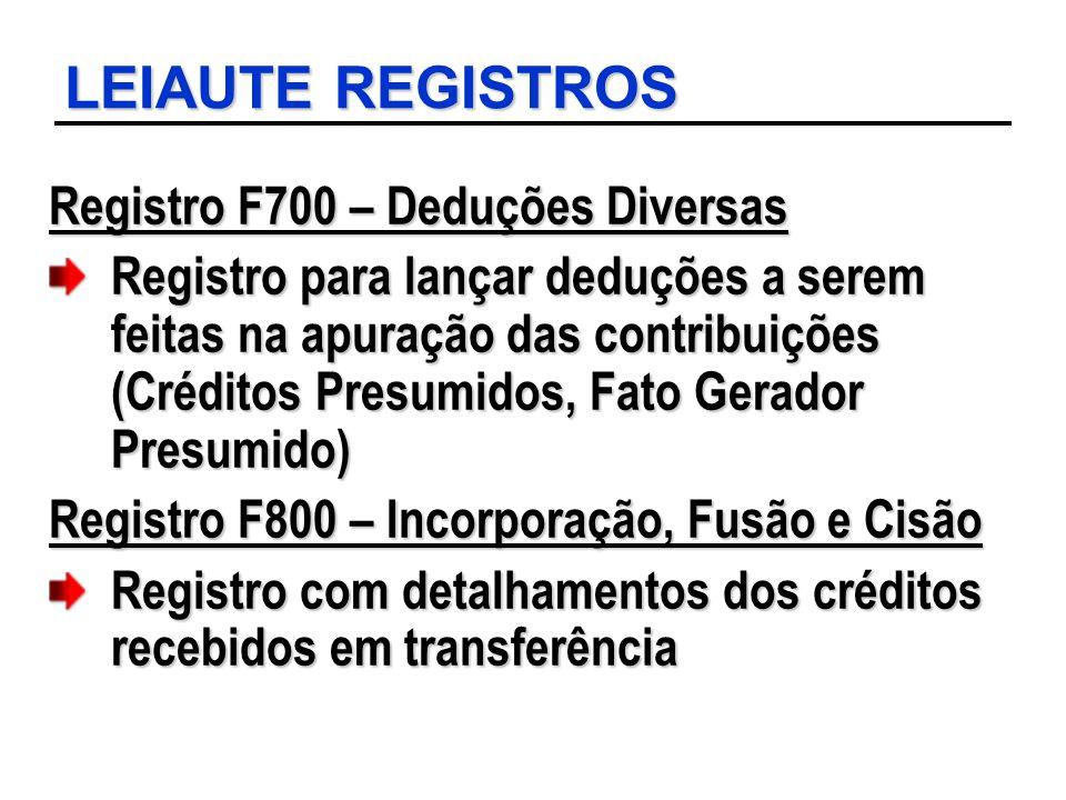 LEIAUTE REGISTROS Registro F700 – Deduções Diversas