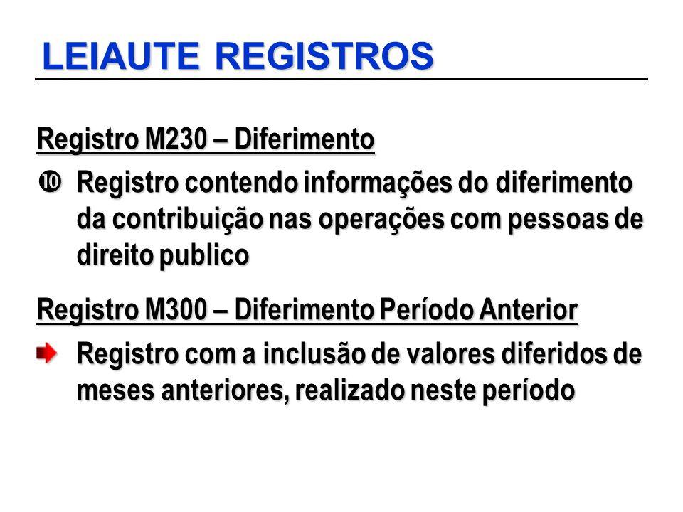 LEIAUTE REGISTROS Registro M230 – Diferimento