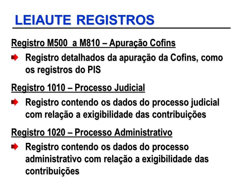 LEIAUTE REGISTROS Registro M500 a M810 – Apuração Cofins