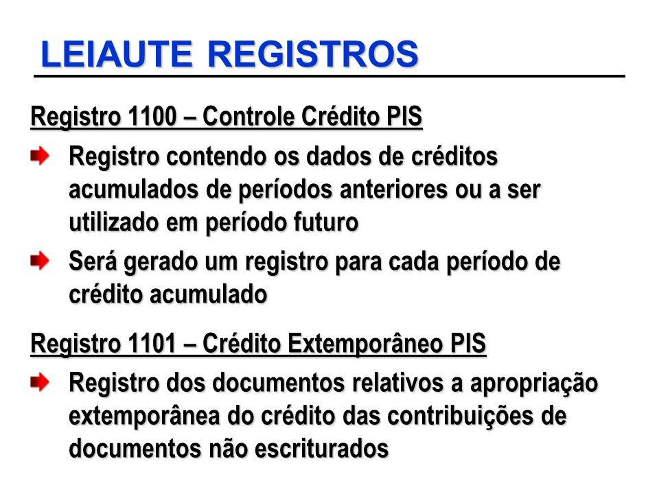 LEIAUTE REGISTROS Registro 1100 – Controle Crédito PIS