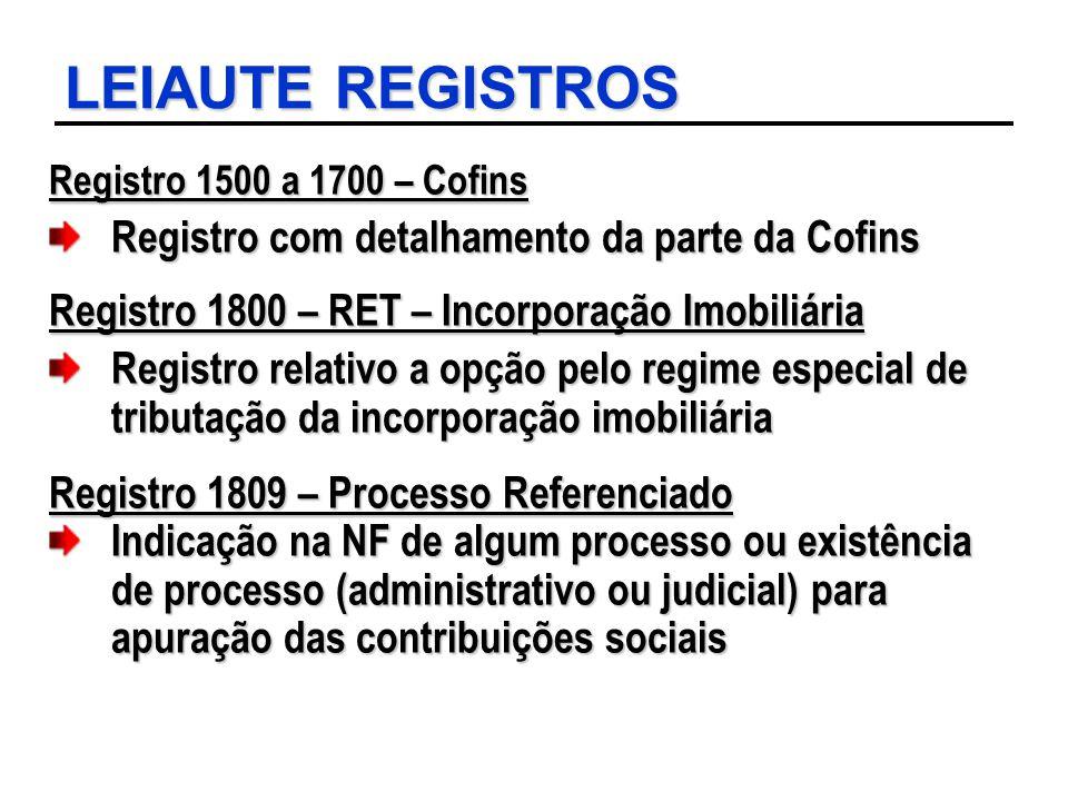 LEIAUTE REGISTROS Registro com detalhamento da parte da Cofins