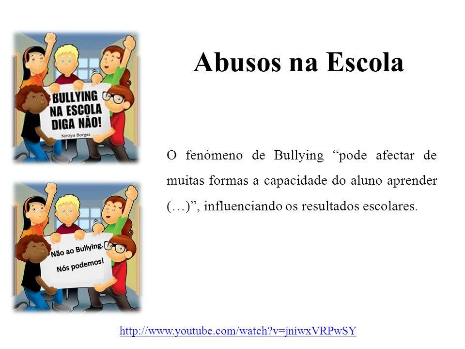 Abusos na Escola O fenómeno de Bullying pode afectar de muitas formas a capacidade do aluno aprender (…) , influenciando os resultados escolares.