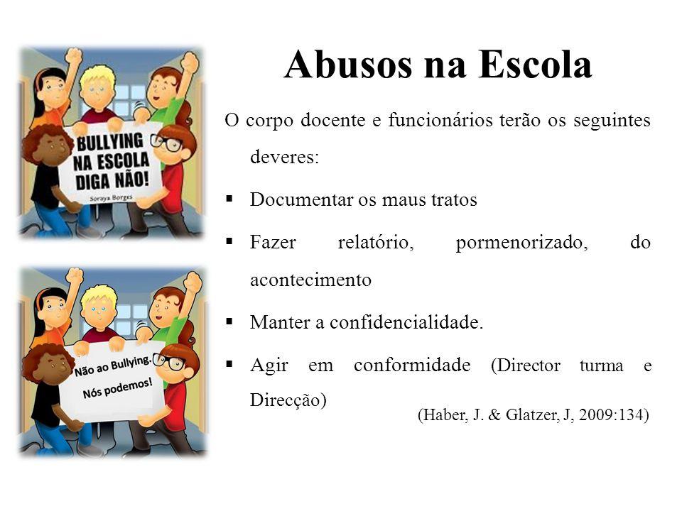 Abusos na Escola O corpo docente e funcionários terão os seguintes deveres: Documentar os maus tratos.