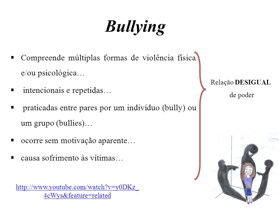 Bullying Compreende múltiplas formas de violência física e/ou psicológica… intencionais e repetidas…