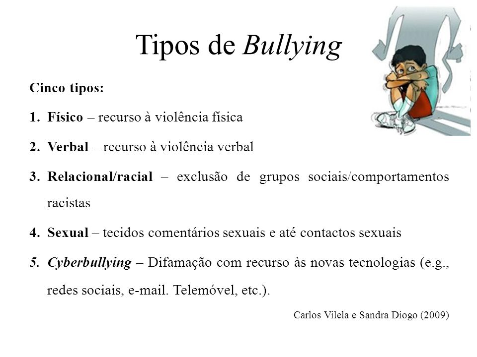 Tipos de Bullying Cinco tipos: Físico – recurso à violência física