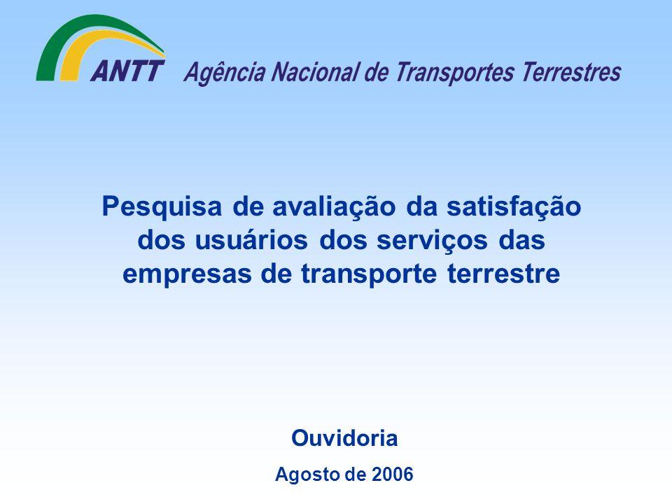 Pesquisa de avaliação da satisfação dos usuários dos serviços das empresas de transporte terrestre