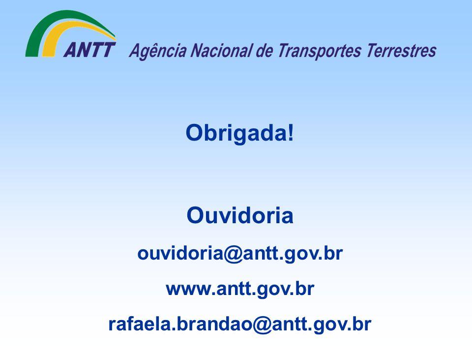 Obrigada! Ouvidoria ouvidoria@antt.gov.br www.antt.gov.br