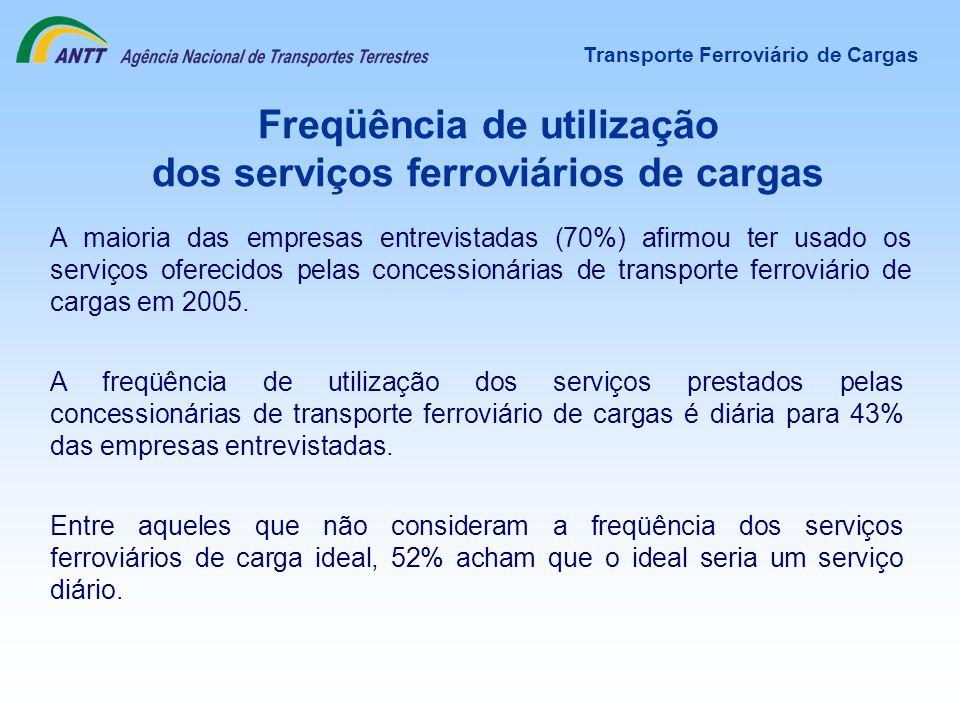 Freqüência de utilização dos serviços ferroviários de cargas