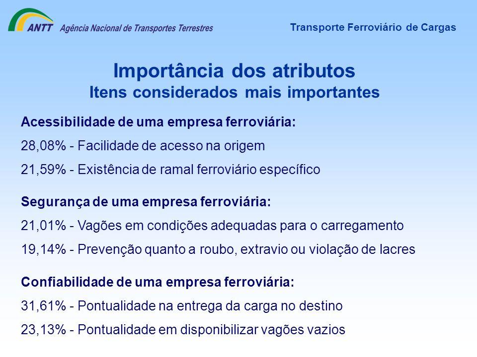 Importância dos atributos Itens considerados mais importantes