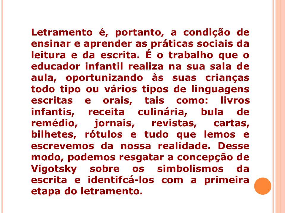 Letramento é, portanto, a condição de ensinar e aprender as práticas sociais da leitura e da escrita.