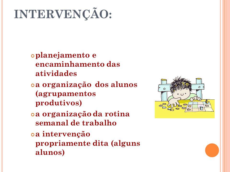 INTERVENÇÃO: planejamento e encaminhamento das atividades