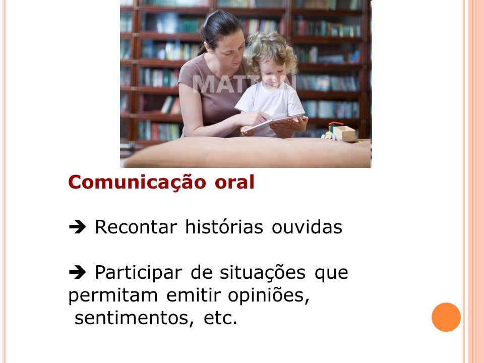 Comunicação oral  Recontar histórias ouvidas.  Participar de situações que permitam emitir opiniões,